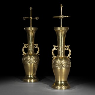 Pair of Large Chinese Bronze Table Lamps