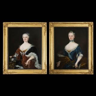 Pair of 18th Century Oil Portraits of Noble Ladies