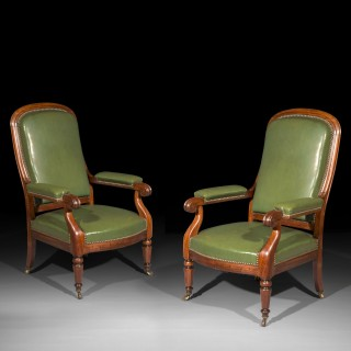 Pair of 19th Century Library Armchairs
