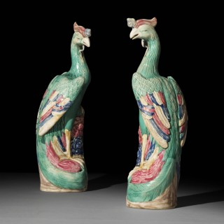 Large Pair of Chinese Porcelain Phoenix Birds