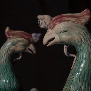 Large Pair of Chinese Porcelain Phoenix Birds