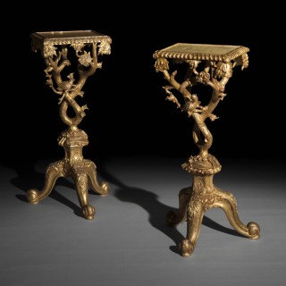 Pair of Chippendale Style Chinoiserie Giltwood Stands