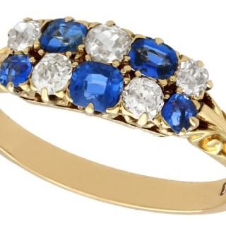 0.80ct Sapphire and 0.62ct Diamond, 18 ct Yellow Gold Dress Ring - Antique Circa 1890
