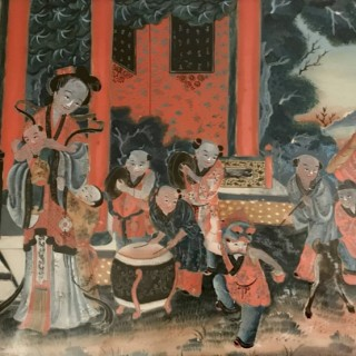 Seven Large Nineteenth Century Chinese Reverse Mirror Paintings