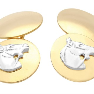 18 ct Yellow Gold and 18 ct White Gold Horse Cufflinks - Vintage Circa 1970