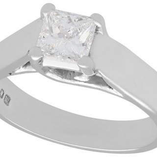 0.62ct Diamond and 18ct White Gold Solitaire Ring - Contemporary 1996