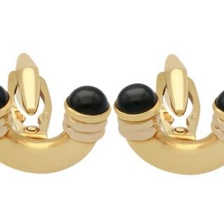 Black Onyx Cufflinks in 18 ct Yellow Gold - Art Deco Style - Vintage Circa 1960