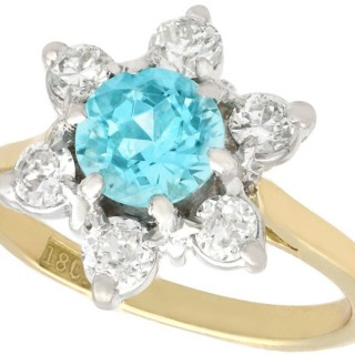 1.18 ct Blue Zircon and 0.60 ct Diamond, 18 ct Yellow Gold Cluster Ring - Antique Circa 1920
