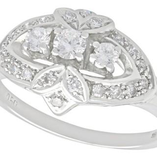 0.50ct Diamond and 14ct White Gold Dress Ring - Vintage Circa 1950