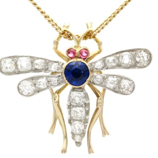 0.45ct Sapphire, 0.92ct Diamond and Ruby, 14 ct Yellow Gold Dragonfly Pendant / Brooch - Antique Circa 1890