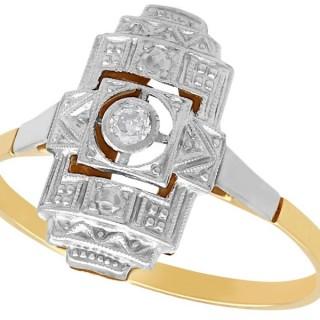 Diamond and 14 ct Yellow Gold, 14 ct White Gold Set Dress Ring - Art Deco - Antique Circa 1920