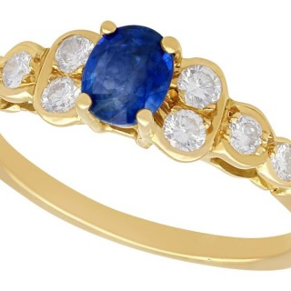 0.87 ct Sapphire and 0.65 ct Diamond, 18 ct Yellow Gold Dress Ring - Vintage Circa 1980