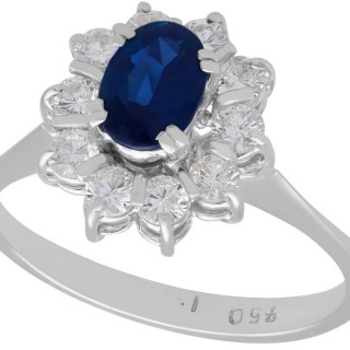 0.84 ct Sapphire and 0.48 ct Diamond, 18 ct White Gold Dress Ring - Vintage Circa 1970