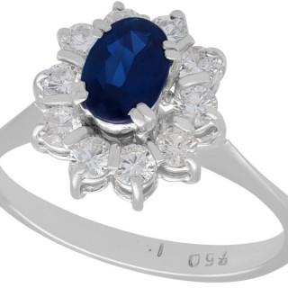 0.84 ct Sapphire and 0.48 ct Diamond, 18 ct White Gold Dress Ring - Vintage Circa 1970