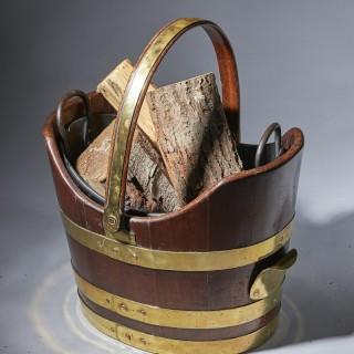 Unusual George III brass bound mahogany peat or coal bucket