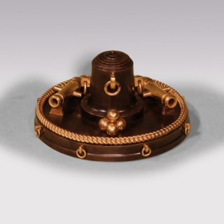 19th Century Bronze & Ormolu Nautical Inkwell