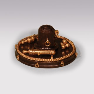 19th Century Bronze & Ormolu Nautical Inkwell