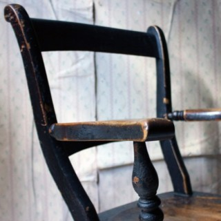 A Mid-19thC Black Painted Elm Farmhouse Kitchen Armchair c.1860