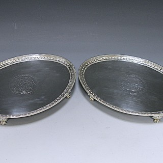 Pair of Antique Silver George III Salvers made in 1784  Hannam  & Crouch of London