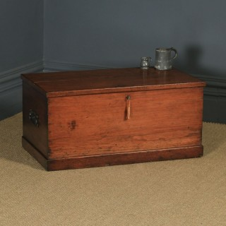 Antique English Georgian Pine Trunk Blanket Box / Chest / Coffee Table (Circa 1830)