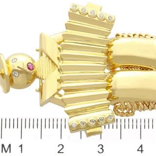 0.14ct Diamond and Ruby, 18ct Yellow Gold Accordion Brooch - Vintage Circa 1950