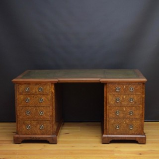 Superb Quality Victorian Burr Walnut Pedestal Desk