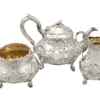 Sterling Silver Three Piece Tea Service - Antique Victorian (1847)