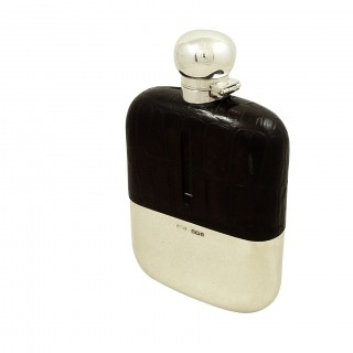 Antique Victorian Sterling Silver & Crocodile Leather Hip Flask 1895