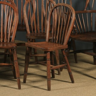Antique Set of 12 Victorian Ash & Elm Windsor Stick & Hoop Back Kitchen Chairs (Circa 1880 – 1920)