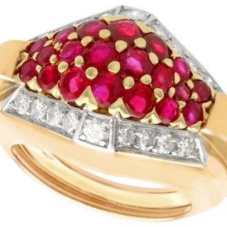 1.38 ct Ruby and 0.57 ct Diamond, 14 ct Yellow Gold Dress Ring - Art Deco Style - Vintage Circa 1950