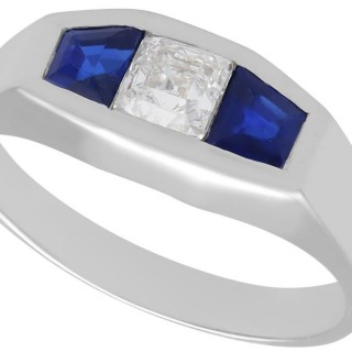 0.30ct Diamond & 0.62ct Sapphire, 18ct White Gold Ring - Art Deco - Antique French