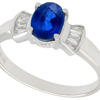 1.06 ct Sapphire and 0.16 ct Diamond, 18 ct White Gold Dress Ring - Vintage Circa 1990