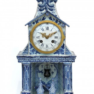 Delft-style Striking Ceramic Mantel Clock