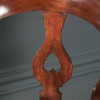 Antique English Victorian Mahogany & Burgundy Red Leather Revolving Office Desk Arm Chair (Circa 1870)