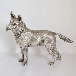 Antique Silver Model Dog