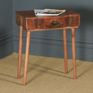 Antique English Art Deco Burr Walnut Bowed Bedside / Occasional Side Table (Circa 1930)