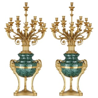 Pair of Large gilt bronze and malachite Neoclassical style candelabra