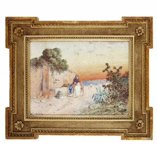 French Orientalist watercolour by Émile Boivin