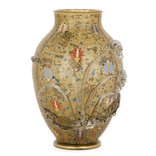 Enamelled glass vase with arabesque patterns by Moser