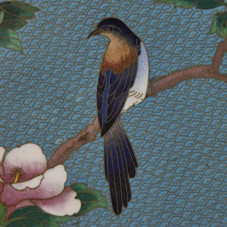 Chinese folding screen mounted with cloisonné enamel panels