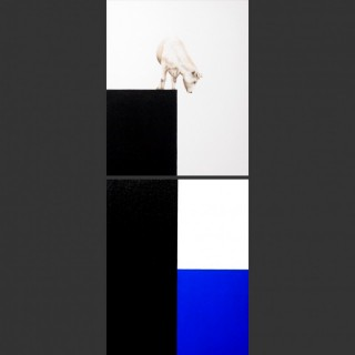 I See Blue Sea Cow White Standing (Diptych paintings)