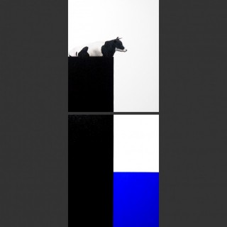I See Blue Sea Cow BlackWhite Lying (Diptych paintings)