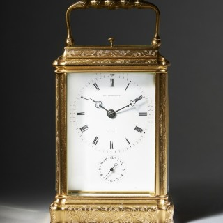 A high quality eight-day striking and repeating carriage clock, signed on the enamel dial PERREGAUX AU LOCLE, c. 1870.