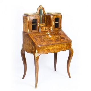 Antique Victorian Burr Walnut Marquetry & Ormolu Bonheur de Jour Bureau 19th C