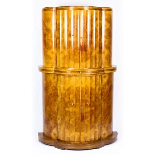 Antique Art Deco Burr Walnut Fluted Cocktail Bar by Epstein C 1930