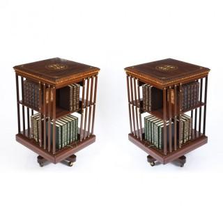 Antique Pair Edwardian Inlaid Mahogany Square Revolving Bookcase C1900