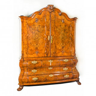 Antique Dutch Burr Walnut Bombé Cabinet Armoire Secret Drawers 18th Century