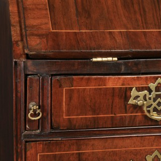 Antique English 18th Century Georgian Figured Walnut Inlaid Bureau Writing Desk (Circa 1750)