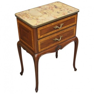 French Style Marble Top Side Cabinet