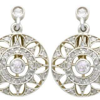 0.59ct Diamond, 14ct Yellow Gold Drop Earrings - Antique Circa 1905